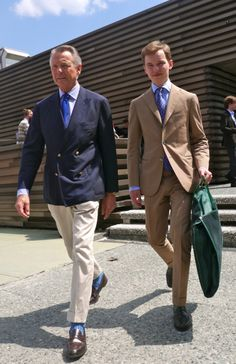 Father and son? I hope my son and I will look this good when he's all grown up.  Love the natural unstructured double breasted blazer, seems a smidge short to me... But those socks! Makes a huge difference versus boring black...