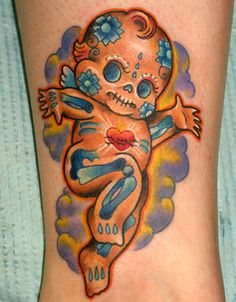 Kewpie Sugar Skull tattoo - this has got to be my next tattoo! Baby Tattoos, Foot Tattoos, Life Tattoos, Body Art Tattoos, Thigh Tattoos, Tatoos, Sugar Skull Tattoos, Sugar Tattoo, Sugar Skulls
