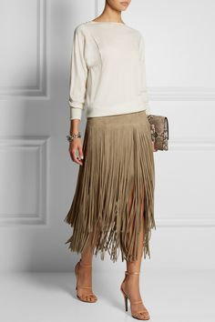 Michael Kors | Fringed suede midi skirt | NET-A-PORTER.COM I Would definitely look better worn with boots!