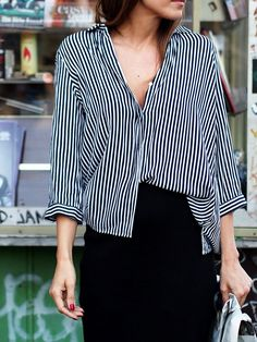 #stripes #zara #shirts #classic #french #chic #pencilskirt #massimodutti #heels #slingpumps #jimmychoo #style #streetstyle #berlin #fashion #blogger #helloshopping #ootd #whowhatwear #trends #spring #summer