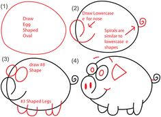 step e nosed piggy steps big guide to drawing cartoon pigs with basic shapes for kids - Simple Drawing For Children