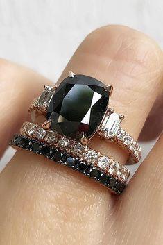 33 Unique Black Diamond Engagement Rings ❤ black diamond engagement rings oval cut solitaire wedding set ❤ More on the blog: https://ohsoperfectproposal.com/black-diamond-engagement-rings/ #UniqueEngagementRings