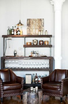 Cool bar option for a light, airy sunroom, but with different chairs?