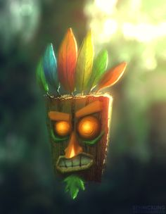 Aku Aku - Crash Bandicoot Ahhhhhhhhhhhhhhh! I used to love this game and guy!!!!!!! Oh the memory's.......