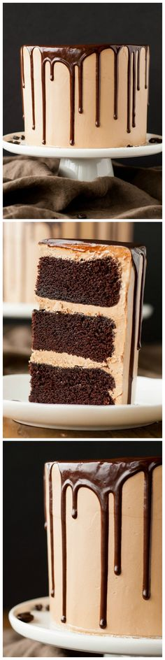 A rich dark chocolate cake, covered in a silky mocha swiss meringue buttercream, drizzled with a dreamy chocolate ganache. : FlavorCatalog