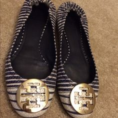 Like New Striped Tory Burch Flats size 9.5 Extremely good condition! I've only worn them a handful of times. Super fashionable, they go great with anything. Gold Tory Burch logo on front. White and Blue snakeskin striped pattern. Comment with price negotiations. Tory Burch Shoes Espadrilles