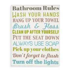 Bathroom Rules Wall Art - BedBathandBeyond.com