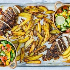 Sheet Pan Jerk Chicken with Baked Fries + Fresh Mango Salsa 🌞👙🌴🍍 {A Summertime Meal idea...packed with nutrients...but even more packed with FLAVOR!} . makes about 2-3 servings Ingredients: 2 small/medium chicken breasts 2 Tbsps jerk seasoning sea salt and pepper to taste 3 Tbsp avocado oil, or olive oil, divided 1 tsp garlic powder 2 medium potatoes (red potatoes, white sweet potato, or new potatoes) sliced into fries . For the mango salsa: 1 cup fresh cucumber, diced 1 medium man...