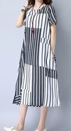 Women loose fit over plus size retro stripes dress pocket long maxi tunic skirt #Unbranded #dress #Casual