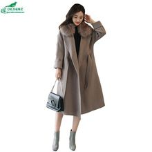 896452c061392 Otoño invierno de lana femenina Prendas de Vestir Exteriores de gran tamaño  floja larga chaqueta de