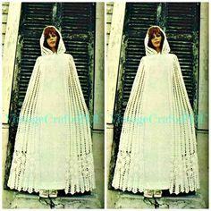 1970s Crochet Vintage Pattern - Bridal Cloak - wedding dress long cape sweater coat cover poncho jacket high fashion - Direct from Australia  by VintageCraftsPDF