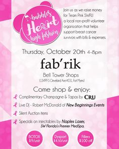 NEXT WEEK! Come out and help a good cause while enjoy FREE CHAMPAGNE & tapas by @cru_fl  great shopping from @fabrikfortmyers BOTOX specials from @napleslasermedspa  LIVE MUSIC! & more! #livelocal #breastcancer #breastcancerawareness  #livemusic #fortmyers #goodcause #comeon #champagne #tapas #freefood #free #event #support #pink #gopink #botox