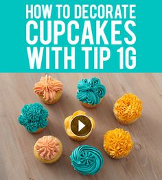 Use the drop flower tip 1G and three vibrant colors of icing to create eight impressive cupcake designs perfect for any occasion.