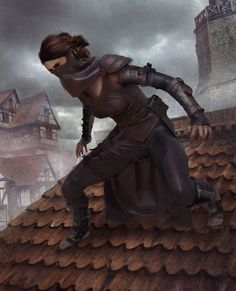 f Rogue Thief Leather Armor Roof top urban city night d&d RPG Female Character Portraits Dungeons And Dragons Characters, Dnd Characters, Fantasy Characters, Female Characters, Character Concept, Character Art, Concept Art, Story Inspiration, Character Inspiration