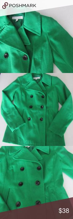Kelly Green Peacoat Kelly Green Peacoat   Add a pop of color to dull fall and winter days. Perfect mid-weight jacket.   EUC. No rips or stains. Non-smoking household.   BUNDLE FOR PRIVATE OFFER! New York & Company Jackets & Coats