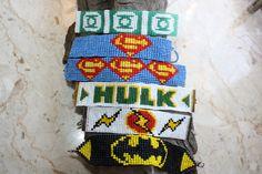Super Hero woven loom beaded bracelet Geek Nerdy pixel comic - made to order- choose 1