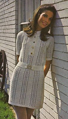 ec4935f6874 1960s MOD belted dress pattern Vintage Crochet Dresses
