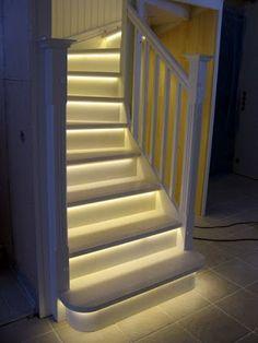 LED Light strips on stairway - LOVE IT!