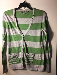 REMAIN Women's Green and Gray Striped Spring Cardigan - Size Small (S) #Remain #Cardigan #Casual