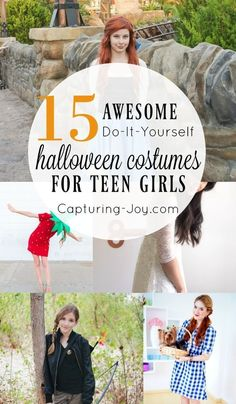 Best Ideas DIY and Crafts Inspiration : Illustration Description Find these 15 Awesome DIY Halloween Costume Ideas for Teen Girls and get ready for Halloween in style with your teenagers. Diy Halloween Costumes For Girls, Teen Halloween Party, Costumes For Teenage Girl, Easy Diy Costumes, Homemade Halloween, Costume Ideas, Halloween Ideas, Halloween Stuff, Tween Halloween Costumes For Girls Diy