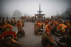 Saurabh Das/Associated Press INDIA DAY: Soldiers waited before the beginning of rehearsals for the Republic Day parade early in the morning in New Delhi, India, Monday. Indian Republic Day is celebrated every year on Jan. 26.