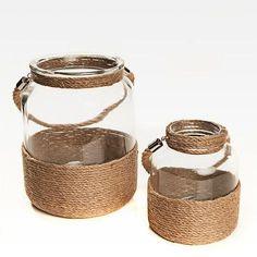 Diy Crafts Lanterns, Rope Crafts, Diy And Crafts, Sisal, Mason Jar Crafts, Bottle Crafts, Glass Jars, Candle Jars, Diy Bedroom Decor