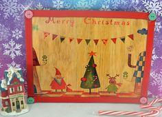 Christmas Cheer, Santa & Reindeer Wooden Sign, Choose Size, Add Text ...