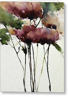 Wild Roses Greeting Card by Annemiek Groenhout #watercolorarts