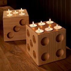 Dice Tea Lights Más #WoodworkCrafts