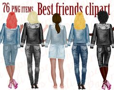 Best Friends Clipart,Jeans and Legs (Graphic) by ChiliPapers · Creative Fabrica