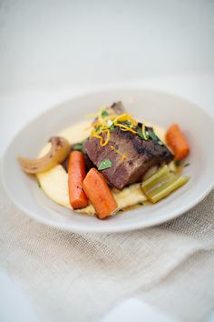 Braised Short Ribs with Herb and Citrus Germolata  Melted polenta