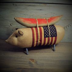 primitive folk art country handmade cloth country pig doll americana patriotic #NaivePrimitive #artist