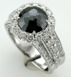#blackdiamond ring made by #ChristopherDesign in stock at #CoffrinJewelers