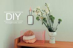 DIY - neon wire basket from chicken wire and a little spray. Idee voor in buitenkeuken