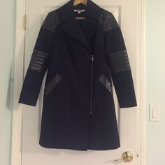 PRICE DROP 4 one hr. Size 4 99 cent shipping!! Super trendy pea coat, side zipper, navy wool w/ black leather detail, size 4, NWOT DKNY Jackets & Coats Pea Coats