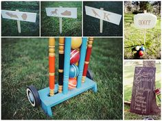 awesome bocce ball sign! love the ideas on the board on the bottom right.