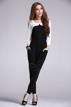 Slimming Elastic Waist Square Neck Puff Sleeve Jumpsuit For Women (BLACK,S) China Wholesale - Sammydress.com