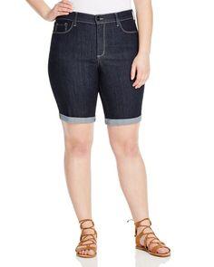 Nydj Plus Briella Roll Cuff Bermuda Shorts in Dark Enzyme