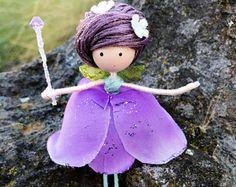 Purple Flower Fairy Doll, Fairy Gift Ideas, Miniature Fairy Dolls, Wire Bendy Fairy, Enchanted Forest, Flower Girl Gift, Purple Fairy Dress