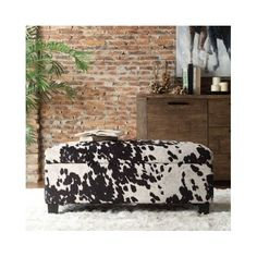 Black Cowhide Ottoman Fabric Bench Stool Ottomans Cow Hide Rustic Cabin Animal #INSPIREQ #Modern