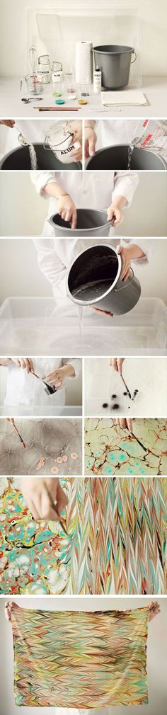 DIY :: Make Your Own Marbled Scarf ( www.etsy.com/... ) #diy #pin_it #decor @Mundo das Casas See more Here: www.mundodascasas...