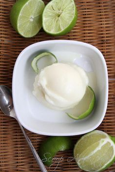 Scoop Adventures' lime sherbet (lots of other great recipes on her site! Cold Desserts, Ice Cream Desserts, Frozen Desserts, Ice Cream Recipes, Delicious Desserts, Sherbet Recipes, Lime Recipes, Ice Cream Freeze, Deserts