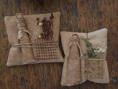 Gertrude Clothespin Doll & Sawdust Pillow-