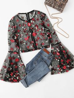 Cheap long sleeves women blouse, Buy Quality sexy blouse directly from China women blouses Suppliers: SHEIN Fluted Sleeve Botanical Sheer Mesh Crop Top Elegant Long Sleeves Women Blouses Autumn Black Embroidered Slim Sexy Blouse Teen Fashion Outfits, Hijab Fashion, Trendy Outfits, Catwalk Fashion, Fashion Dresses, Net Fashion, Maxi Dresses, Fashion Clothes, Dress Skirt
