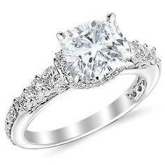 1.95 Carat Cushion Cut / Shape 14K White Gold Designer Four Prong Pave Set Round Diamonds Engagement Ring ( J Color , VS2 Clarity )