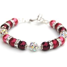 Bridesmaid Jewelry Burgundy Red and Pink Pearl by AMIdesigns, $24.00
