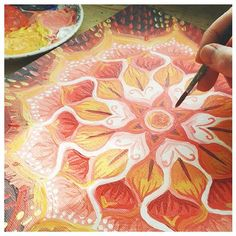 Mandala is almost done, I think! I really connected to this piece and just let it flow. #makeartthatsells, #mandala, #abstractart, #mandalapainting, #acrylics.