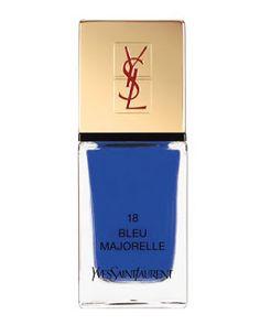 La Laque Bleu Majorelle by Yves Saint Laurent Beaute at Neiman Marcus. Mascara, Eyeliner, Bergdorf Goodman, Great Nails, Fun Nails, Ysl, Neiman Marcus, Yves Saint Laurent Beauté, Yves Klein Blue