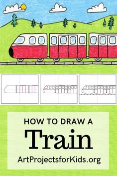 How to Draw a Train · Art Projects for Kids, Op Art Lessons, Kindergarten Art Lessons, Drawing Lessons For Kids, Drawing Tutorials For Kids, Art Drawings For Kids, Easy Drawing Tutorial, Easy Art Projects, Projects For Kids, Train Drawing