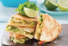 meatless chunky chick'n avocado pesto quesadilla